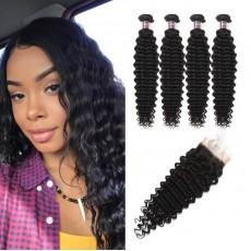 Virgin Indian Deep Wave Hair 4 Bundles With Lace Closure