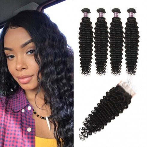 Virgin Indian Deep Wave Hair 4 Bundles With Lace Closure