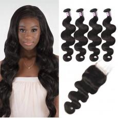 Virgin Malaysian Body Wave Hair 4 Bundles With Lace Closure