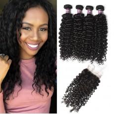4 Virgin Malaysian Curly Hair Bundles with Closure