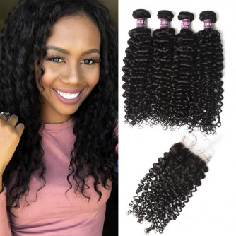 4 Virgin Malaysian Curly Hair Bundles with Closure