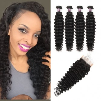 Virgin Malaysian Deep Wave Hair 4 Bundles With Lace Closure