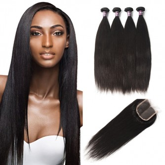 4 Bundles of Malaysian Straight Hair with Lace Closure