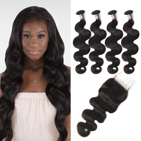 Virgin Peruvian Body Wave Hair 4 Bundles With Lace Closure