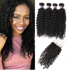 4 Virgin Peruvian Curly Hair Bundles with Closure