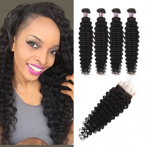 Virgin Peruvian Deep Wave Hair 4 Bundles With Lace Closure