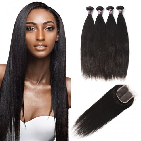 4 Bundles of Peruvian Straight Hair with Lace Closure