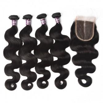 Virgin Brazilian Body Wave Hair 4 Bundles With Lace Closure