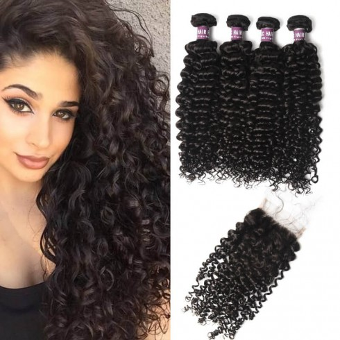 4 Brazilian Deep Curly Hair Bundles with Lace Closure