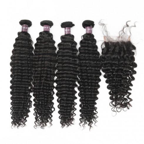 Virgin Brazilian Deep Wave Hair 4 Bundles With Lace Closure