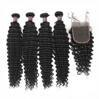 Virgin Brazilian Deep Wave Hair 4 Bundles With Lace Closure