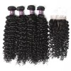 4 Virgin Peruvian Curly Hair Bundles with Closure