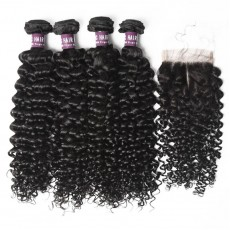 4 Bundles of Virgin Indian Deep Curly Hair with Lace Closure