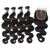 Virgin Indian Body Wave Hair 4 Bundles With Lace Closure