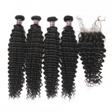 Virgin Malaysian Deep Wave Hair 4 Bundles With Lace Closure