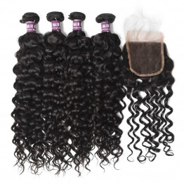 4 Bundles Virgin Brazilian Water Wave Hair with Lace Closure