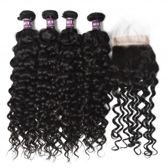 4 Bundles Virgin Brazilian Water Wave Hair with Lace Closure