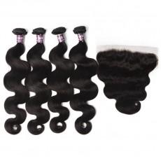 4 Body Wave Virgin Brazilian Hair Bundles with Frontal