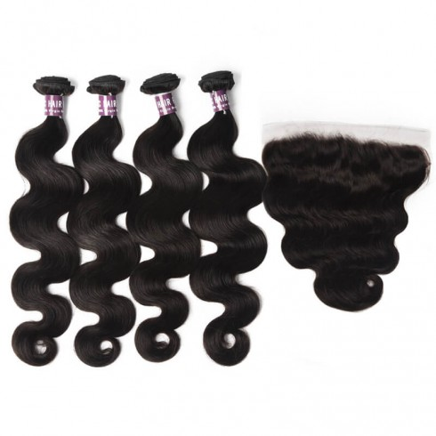 4 Body Wave Virgin Brazilian Hair Bundles with Frontal