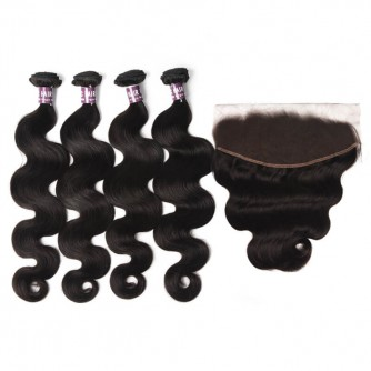4 Virgin Peruvian Body Wave Bundles with Frontal