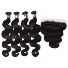 4 Virgin Indian Body Wave Hair Weave with Frontal
