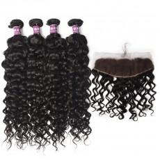 4 Bundles of Virgin Brazilian Water Wave Hair Weave with Frontal
