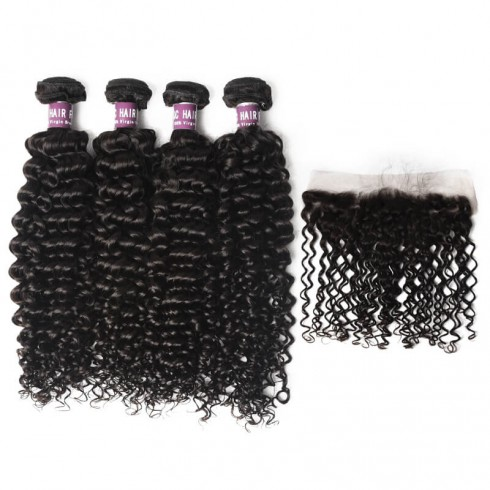 4 Peruvian Virgin Hair Deep Curly Bundles with Lace Frontal