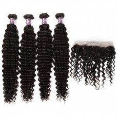 4 Bundles of Virgin Peruvian Deep Wave Bundles with Lace Frontal