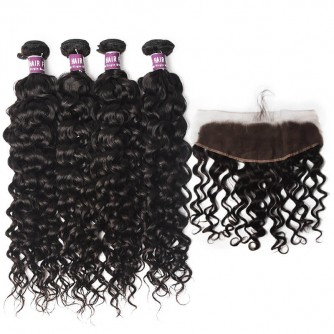 4 Virgin Indian Water Wave Bundles with Lace Frontal