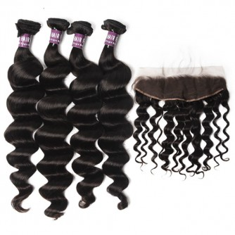 4 Bundles of Brazilian Loose Curly Hair with Lace Frontal