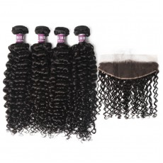 4 Virgin Malaysian Deep Wave Hair Bundles with Lace Frontal