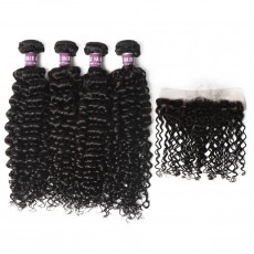 4 Virgin Malaysian Deep Wave Hair Bundles with Lace Frontal