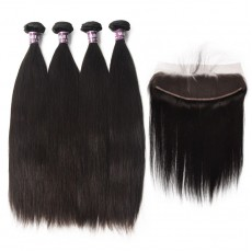 4 Indian Virgin Hair Straight Bundles with Frontal