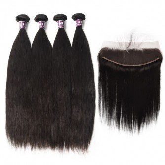 4 Bundles of Virgin Peruvian Straight Hair with Frontal