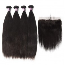 4 Malaysian Virgin Hair Straight Weave with Frontal