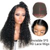 5*5 Invisible HD Lace Closure Wigs Virgin Deep Wave Hair - 14~24inches