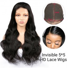 5*5 Invisible HD Lace Closure Wigs Virgin Body Wave Hair - 14~24inches