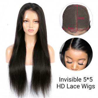 5*5 Invisible HD Lace Closure Wigs Virgin Straight Hair - 14~24inches