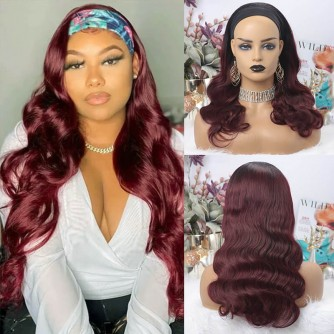 Ombre Color 1B Natural Black And 99J Burgundy Body Wave Headband Wigs