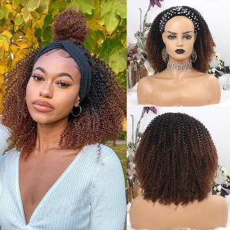 Ombre Color Kinky Curly Headband Wigs
