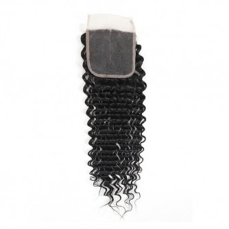 Middle Part Indian Deep Wave Lace Closure
