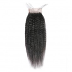 Middle Part Malaysian Kinky Straight Lace Closure
