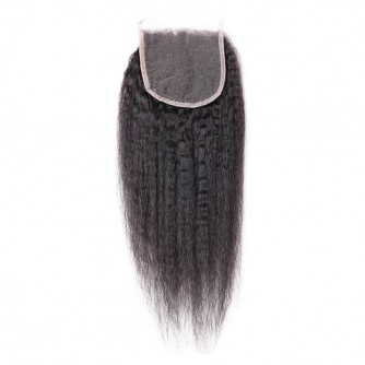 Middle Part Peruvian Kinky Straight Lace Closure