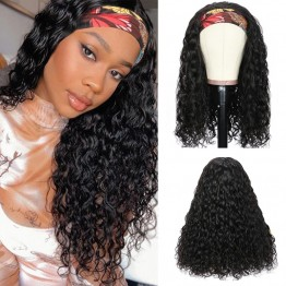 Brazilian Virgin Hair Head Band Deep Curly Wigs