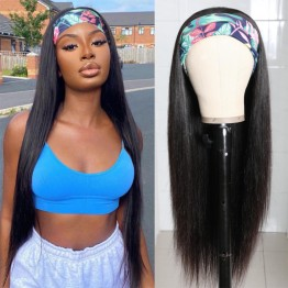 Brazilian Virgin Hair Straight Headband Scarf Wigs