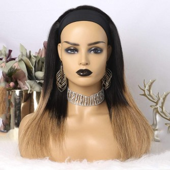 Ombre Color 1B Natural Black And Honey Blonde Straight Headband Wigs