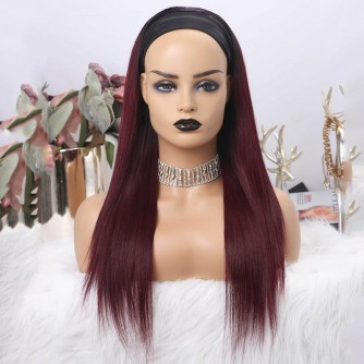 Ombre Color 1B Natural Black And 99J Burgundy Red Straight Headband Wigs