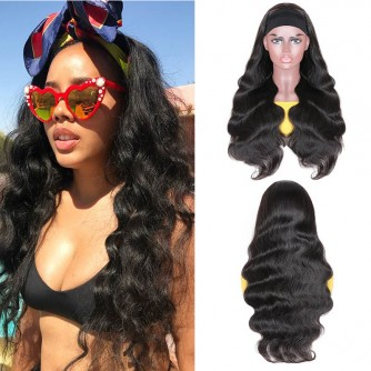 Virgin Brazilian Hair Body Wave Headband Scarf Wigs