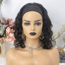 Virgin Brazilian Hair Wavy Bob Headband Scarf Wigs
