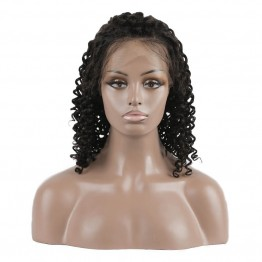 Brazilian Virgin Hair 360 Lace Curly Short Black Bob Wigs